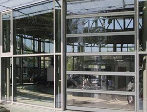 Секционные ворота Hormann ALS  40 из алюминия для промышленных объектов. Ворота-витрина.