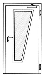 Противопожарные двери Hormann H16: специальное трапецивидное остекление