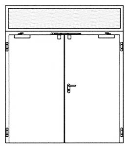Противопожарные двери Hormann H3: глухая верхняя часть со стеклом