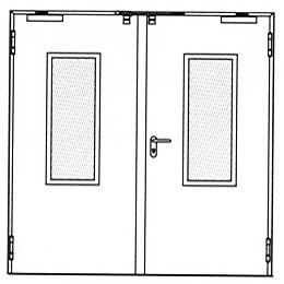 Противопожарные двери Hormann HG 26: Остекление прямоугольное.