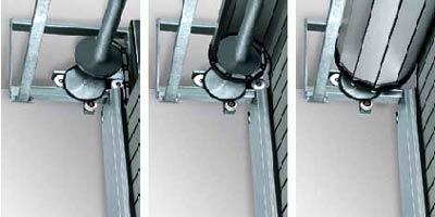 Большую герметичность рулонных скоростных ворот в области перемычки обеспечивает активная система наматывания
